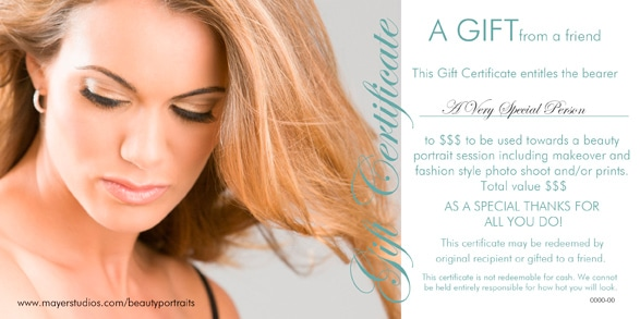 Beauty Portrait gift certificates